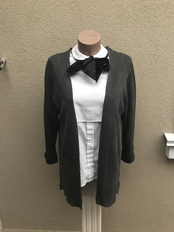 Кардиган,трикотажный жакет,пиджак удлиненный по спинке,серый м...