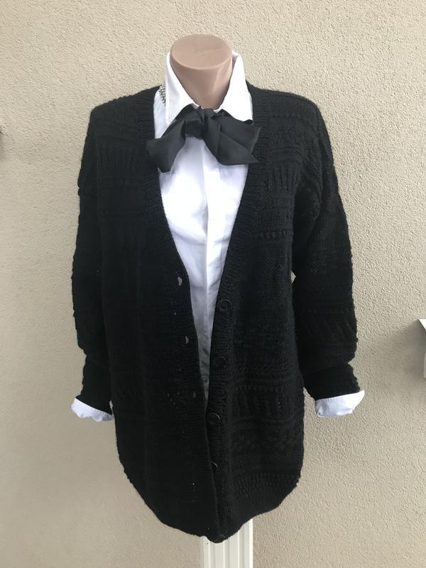 Красивый,теплый,массивный,вязаный,ажурный кардиган,черная кофт...