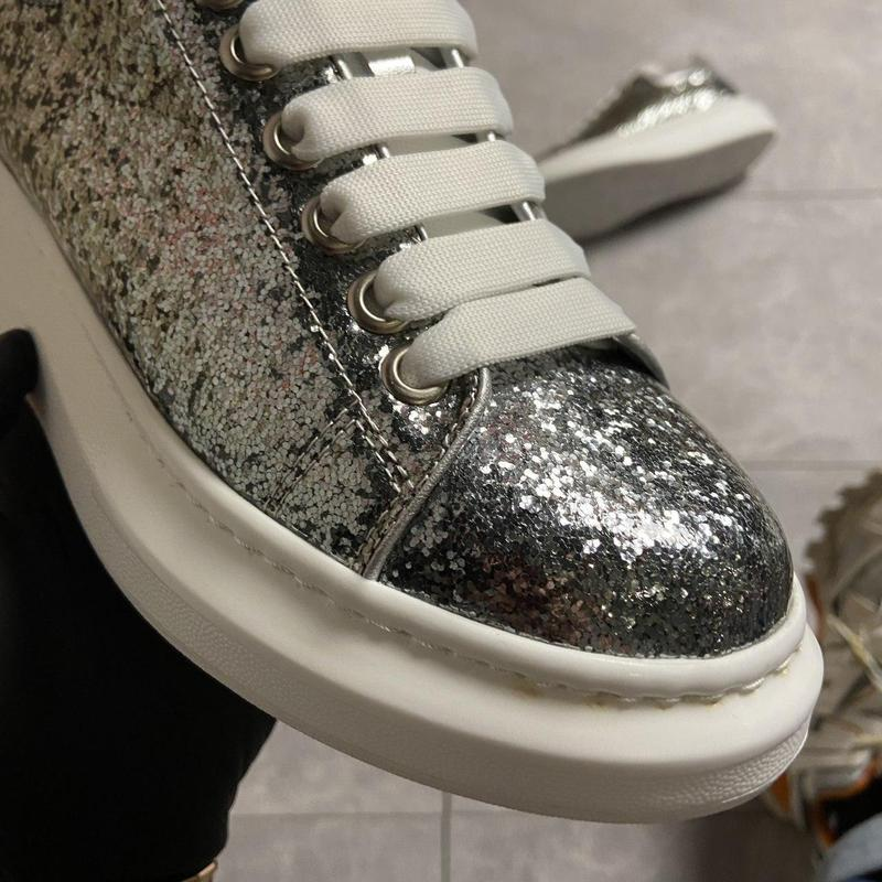 """Alexander mcqueen silver """"leather trimmed glitter"""". - Фото 2"""