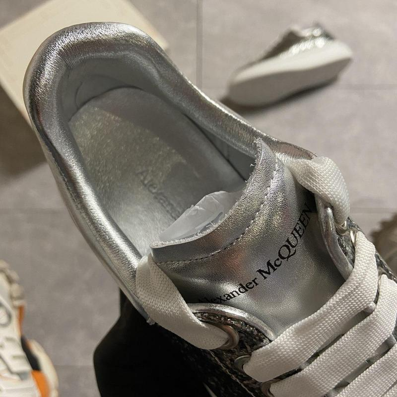 """Alexander mcqueen silver """"leather trimmed glitter"""". - Фото 3"""