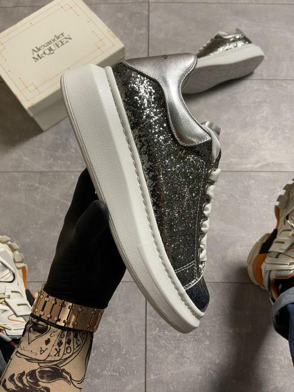 """Alexander mcqueen silver """"leather trimmed glitter"""". - Фото 8"""