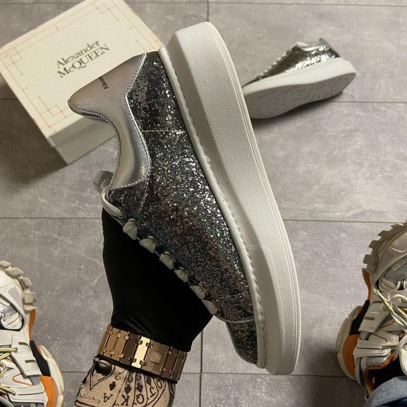 """Alexander mcqueen silver """"leather trimmed glitter"""". - Фото 9"""