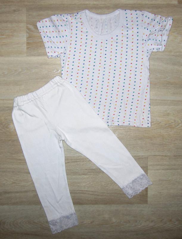 Хлопковый летний комплект для девочки размер 98-104 футболка л...
