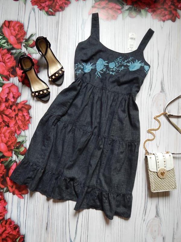 🌿шикарное льняное платье миди с вышивкой от next. размер 2xl (...