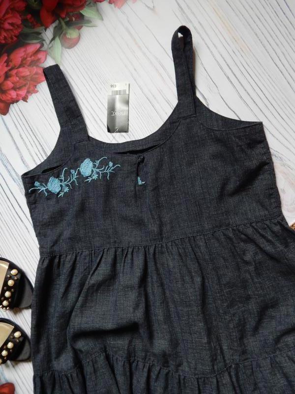 🌿шикарное льняное платье миди с вышивкой от next. размер 2xl (... - Фото 4