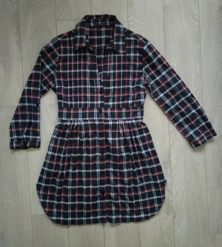 Брендовое базовое платье - рубашка в клеточку, платье туника
