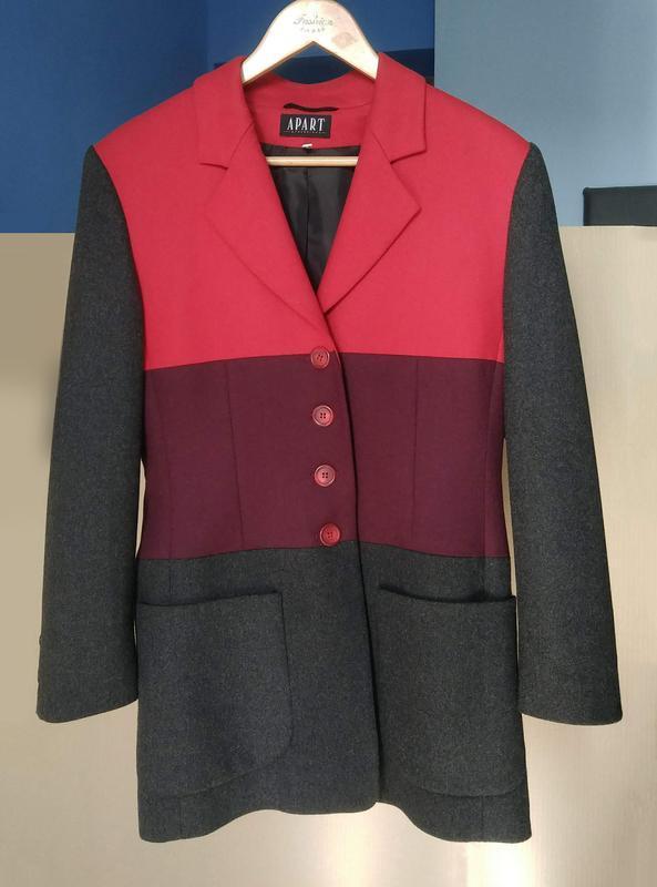 Необычный пиджак с шерстью немецкого бренда apart, жакет серый...