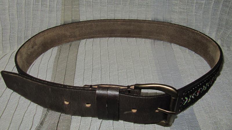 Ремень пояс кожаный с вышивкой