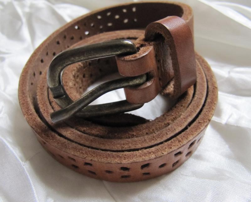 Ремень пояс узкий коричневый кожаный (s)