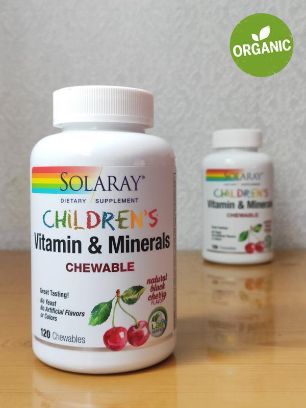 Витамины и минералы для детей, Solaray, вкус черешни, 120 шт