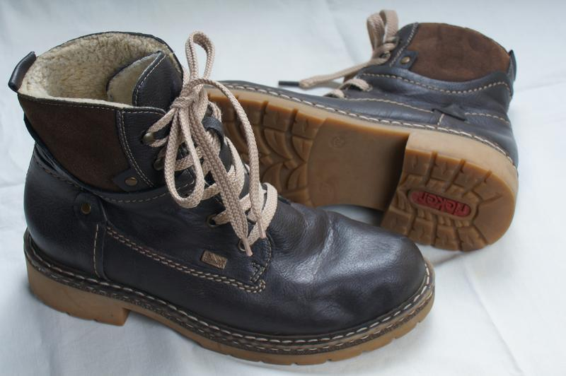 Коричневые ботинки еврозима rieker на шнурках