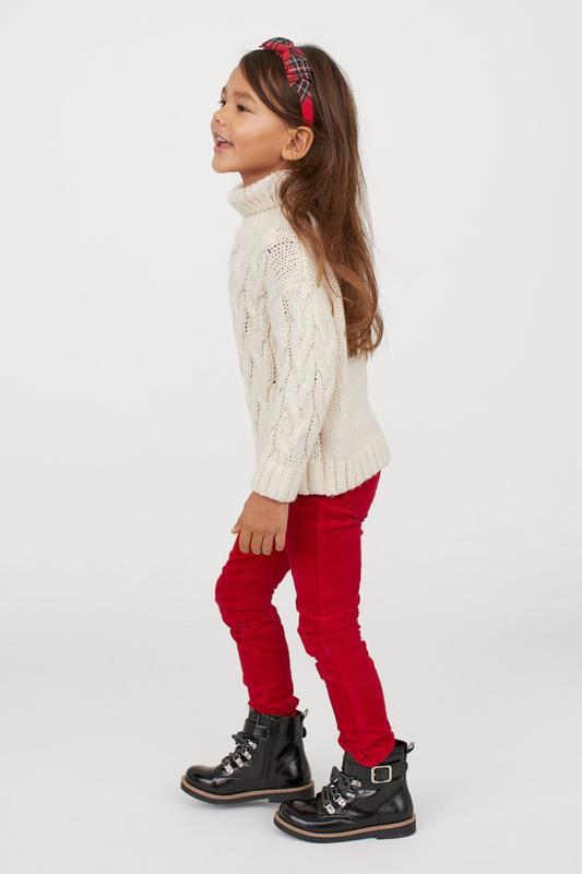 Красные вельветовые трегинсы h&m девочкам 5-6 лет 116 см