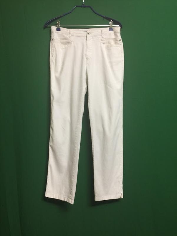 Полульняные белые укороченные брюки rosner