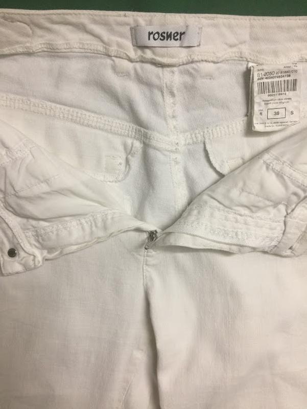 Полульняные белые укороченные брюки rosner - Фото 5