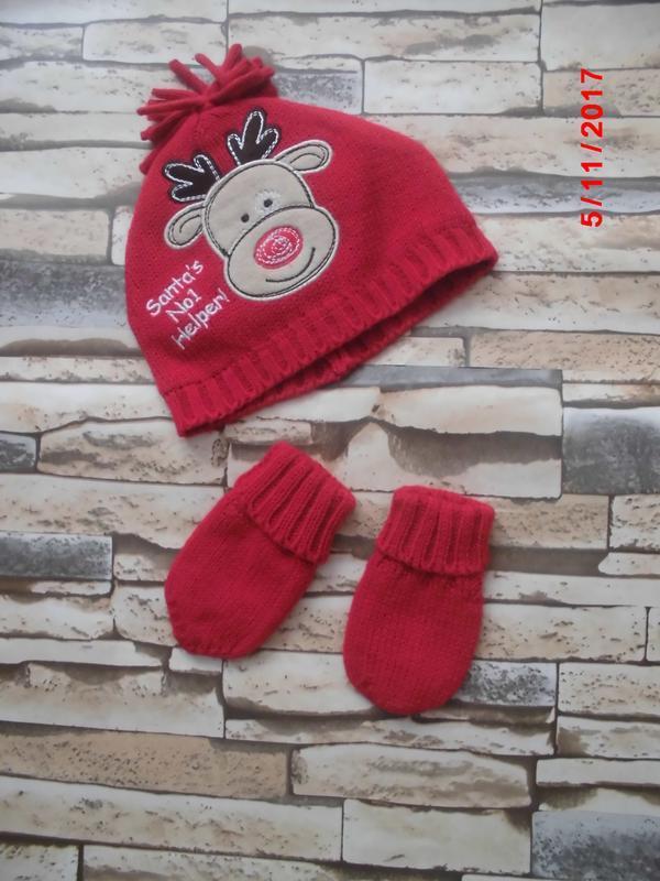 Красивая шапочка и рукавички для малышей 0_6 мес.