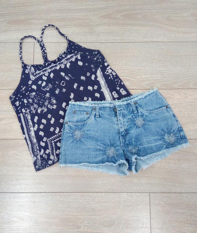 🔥 обвал цен🔥интересные классные короткие голубые джинсовые рва...