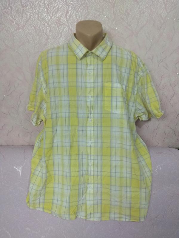 Рубашка мужская летняя с коротким рукавом большого размера хло... - Фото 2