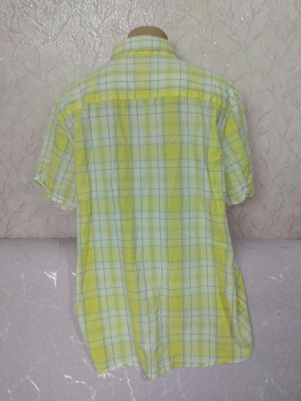 Рубашка мужская летняя с коротким рукавом большого размера хло... - Фото 3