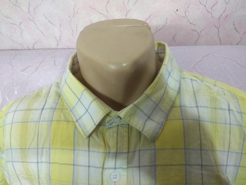 Рубашка мужская летняя с коротким рукавом большого размера хло... - Фото 4