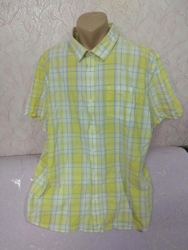 Рубашка мужская летняя с коротким рукавом большого размера хло... - Фото 5