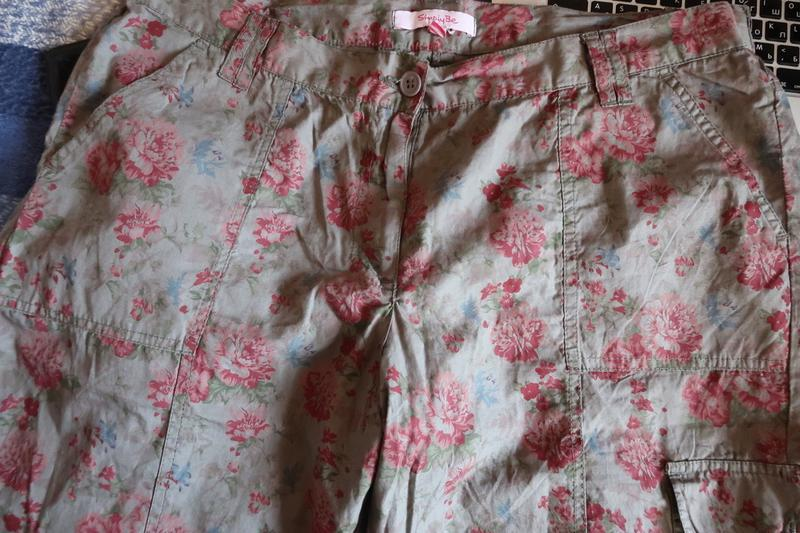 Брюки летние хаки в цветочек большой р-р.18 simply be