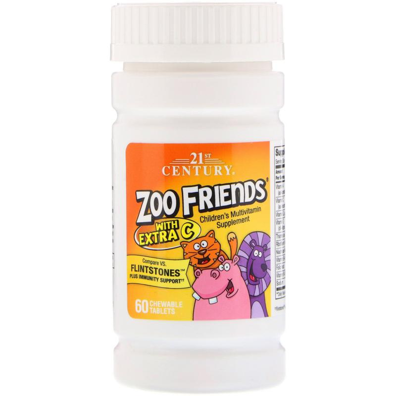 Мультивитамины для детей Zoo Friends 60 табл. 21st Century США