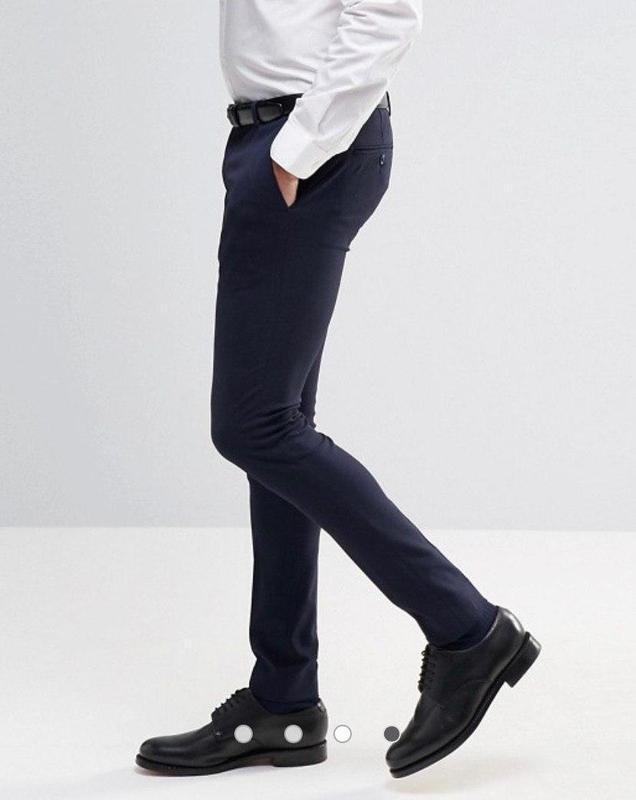 Качественные темно синие классические костюмные мужские брюки ...
