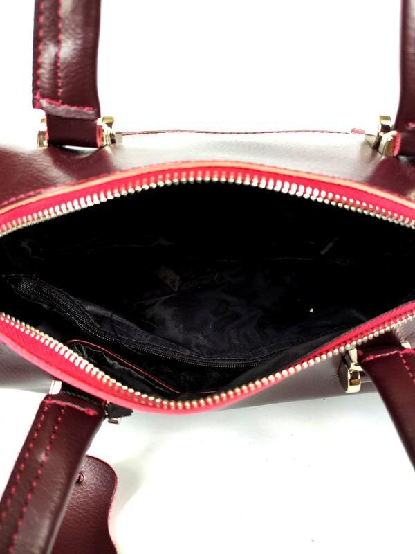 """Женская кожаная сумка-саквояж """"capriccio"""" бордовая - Фото 5"""