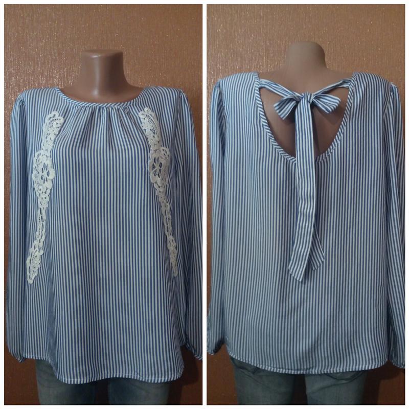 Блузка в полоску кружево аппликация размер 14 new look