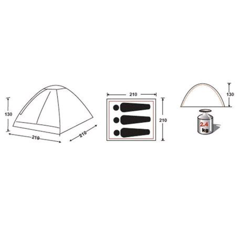 Палатка трехместная Blue Monodome 3 King Camp KT-3010-BL - Фото 3