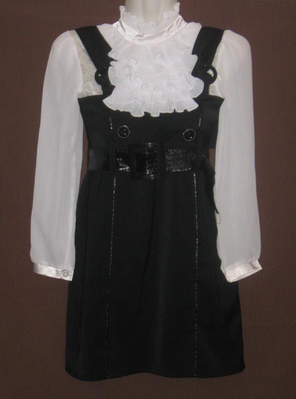 Комплект. Сарафан чёрный с белой блузкой для девочки. Дешево