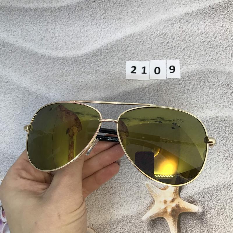 Солнцезащитные очки авиаторы с желто-коричневыми линзами к. 2109 - Фото 2