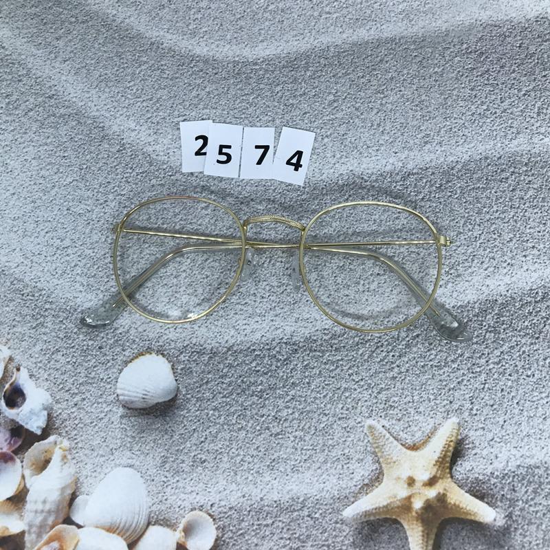 Имиджевые очки в золотистой оправе, не большого размера к. 2574