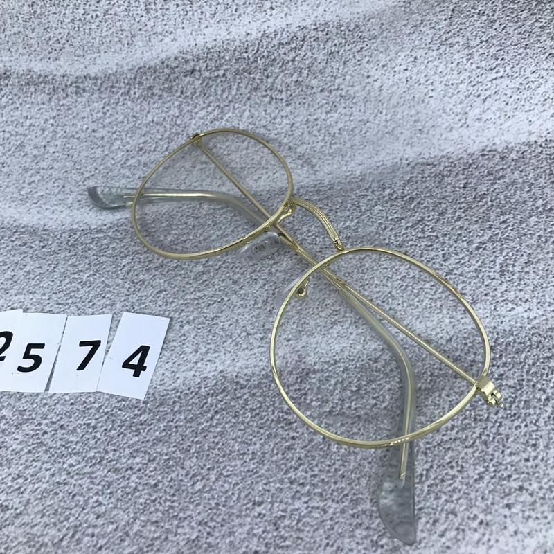 Имиджевые очки в золотистой оправе, не большого размера к. 2574 - Фото 3