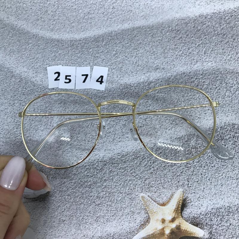 Имиджевые очки в золотистой оправе, не большого размера к. 2574 - Фото 4