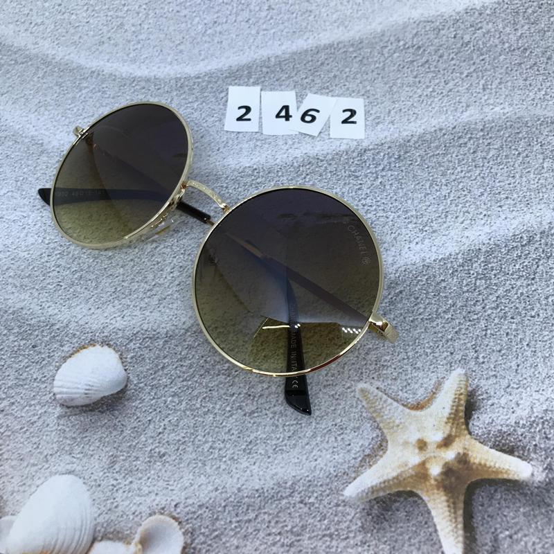 Круглые коричневые очки в золотой оправе  к. 2462 - Фото 2