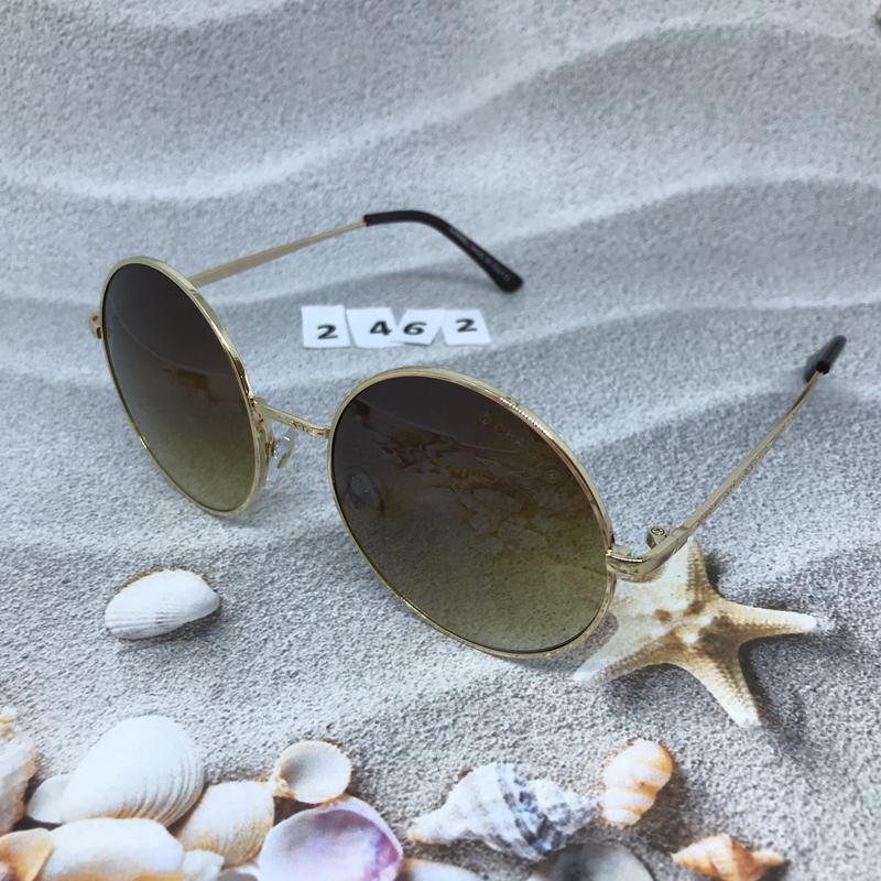 Круглые коричневые очки в золотой оправе  к. 2462 - Фото 3