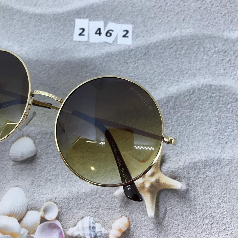 Круглые коричневые очки в золотой оправе  к. 2462 - Фото 5