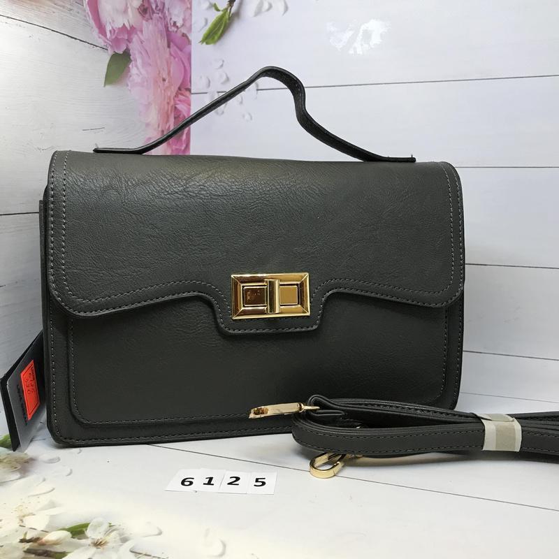 Серая сумка портфель с ручкой  к. 6125