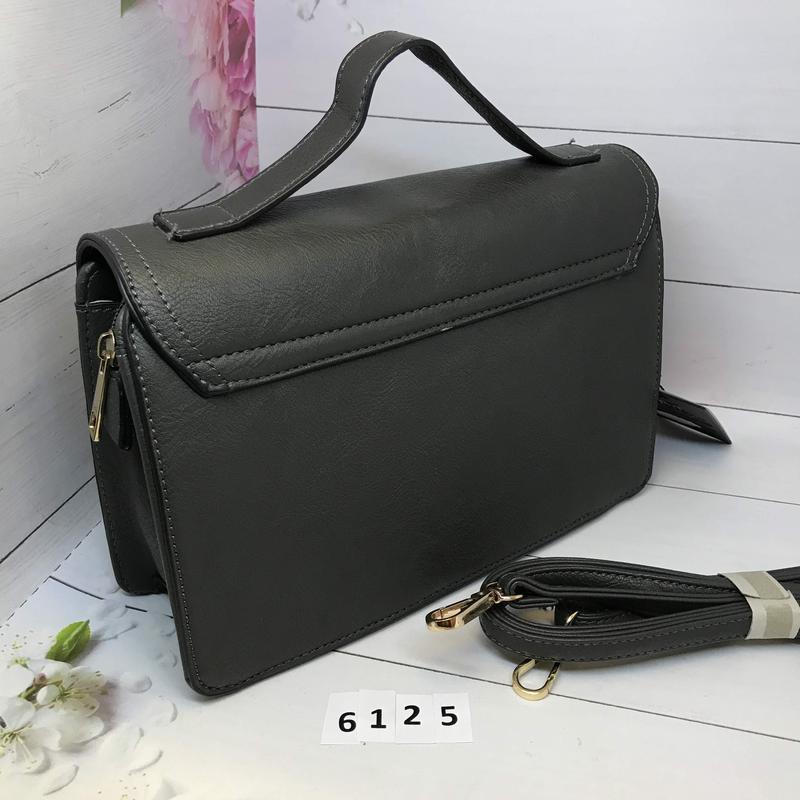 Серая сумка портфель с ручкой  к. 6125 - Фото 2