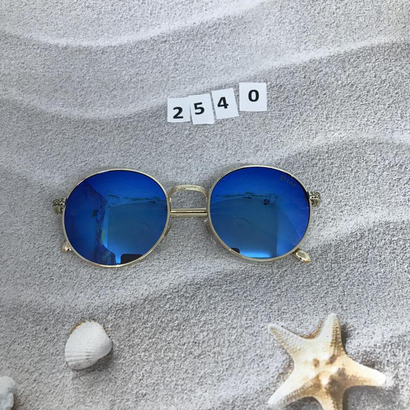 Круглые черные очки в золотистой оправе к. 2540