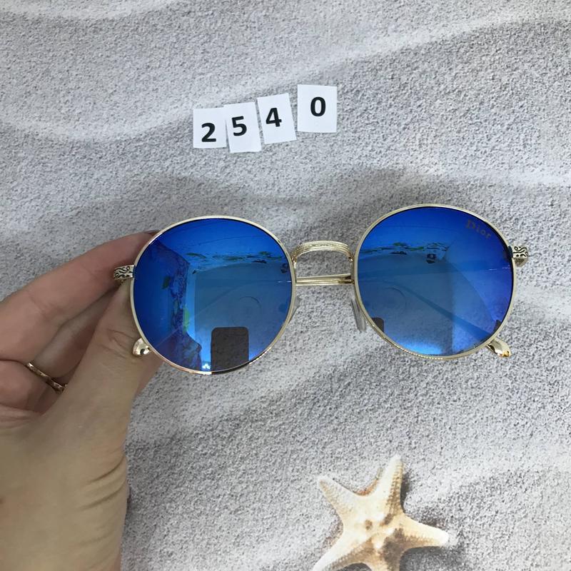 Круглые черные очки в золотистой оправе к. 2540 - Фото 2
