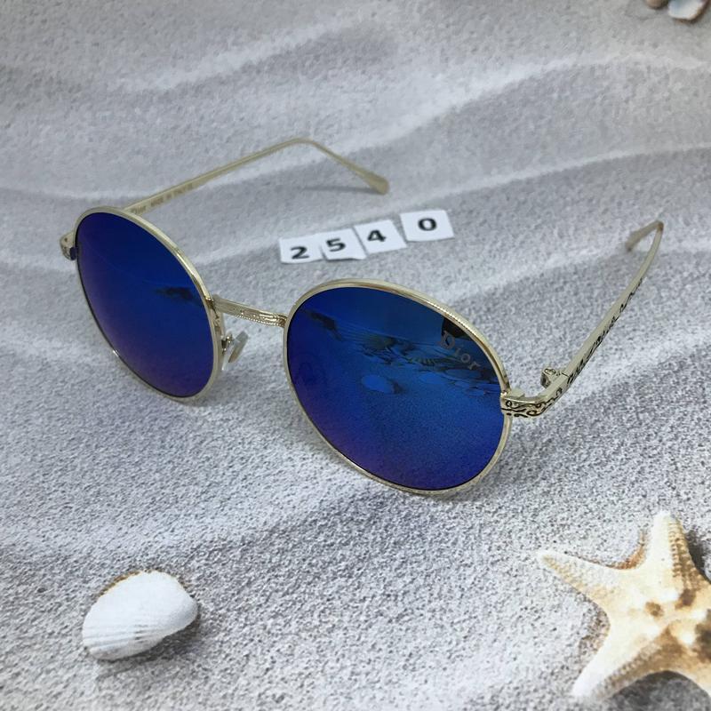 Круглые черные очки в золотистой оправе к. 2540 - Фото 4