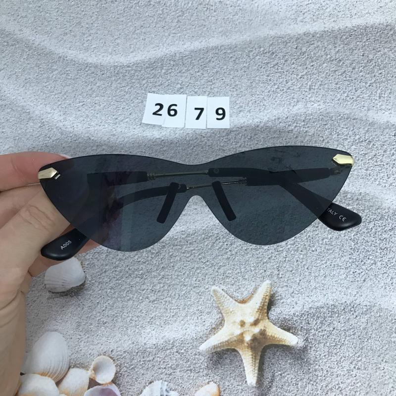 Стильные соллнцезащитные очки черные к. 2679 - Фото 4