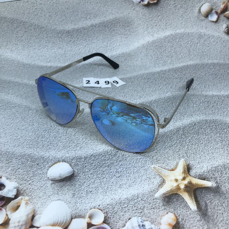 Стильные голубые очки в форме капли  к. 2499