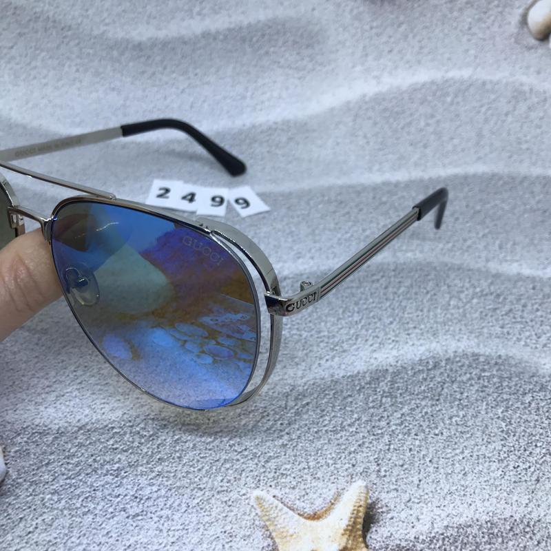 Стильные голубые очки в форме капли  к. 2499 - Фото 2