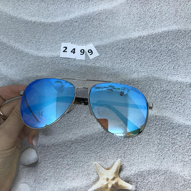 Стильные голубые очки в форме капли  к. 2499 - Фото 4