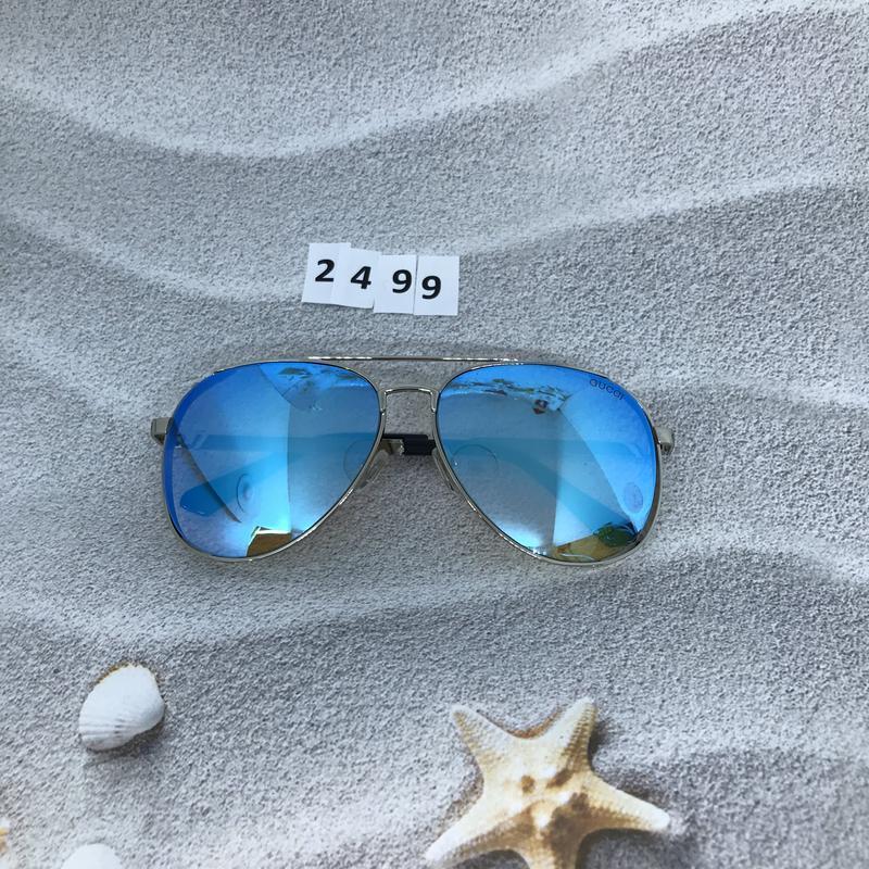 Стильные голубые очки в форме капли  к. 2499 - Фото 5