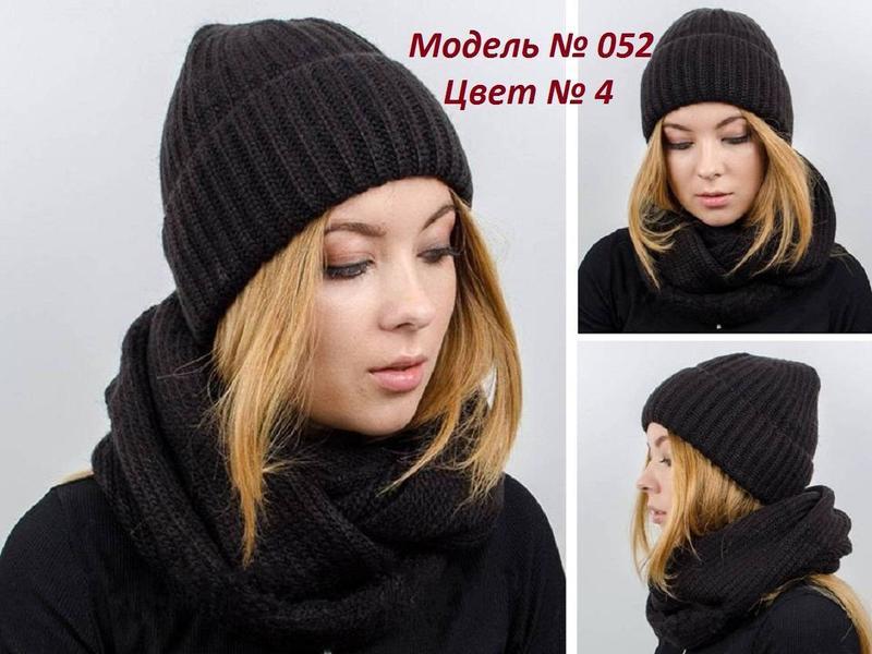 Зимний женский вязаный комплект -  шапка, хомут (снуд), цвет к...