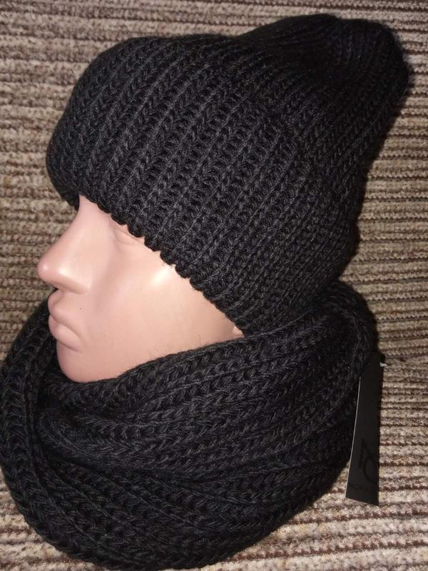 Зимний женский вязаный комплект -  шапка, хомут (снуд), цвет к... - Фото 3